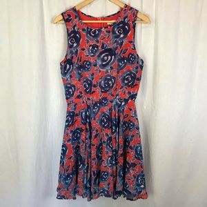 Maison Jules red blue floral fit flare dress
